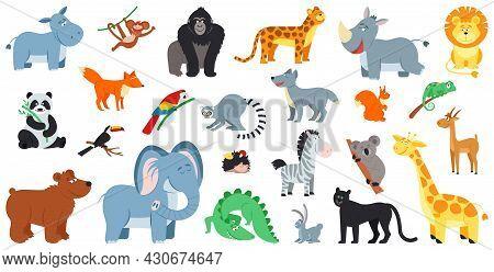 Exotic Forest Animals. Cute Cartoon Animal Zoo Life, Zebra Fox Bear. Wild Safari, Comic Kids Elephan