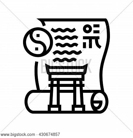 Ancient China History Line Icon Vector. Ancient China History Sign. Isolated Contour Symbol Black Il