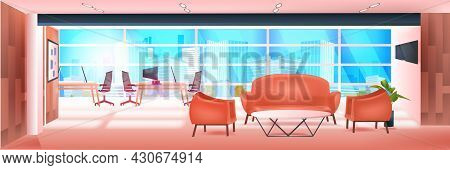 Modern Coworking Area Office Interior Empty No People Open Space Cabinet Room With Furniture
