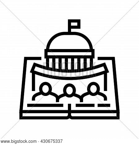 Political History Line Icon Vector. Political History Sign. Isolated Contour Symbol Black Illustrati