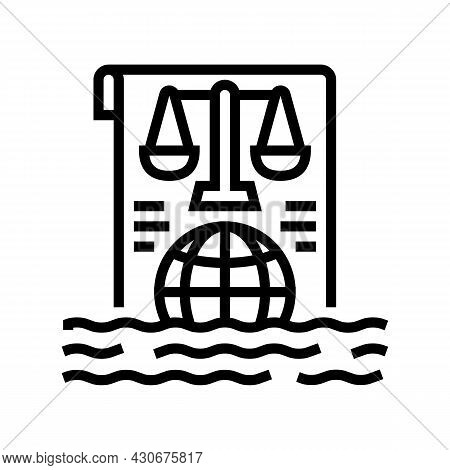 Ocean And Law Of Sea Social Problem Line Icon Vector. Ocean And Law Of Sea Social Problem Sign. Isol