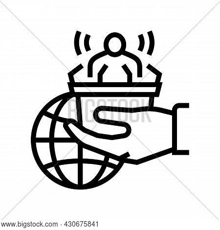 Democracy Social Problem Line Icon Vector. Democracy Social Problem Sign. Isolated Contour Symbol Bl