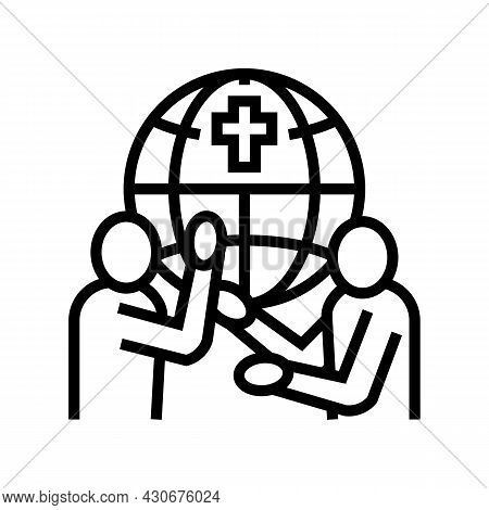 Religious Conflicts Social Problem Line Icon Vector. Religious Conflicts Social Problem Sign. Isolat
