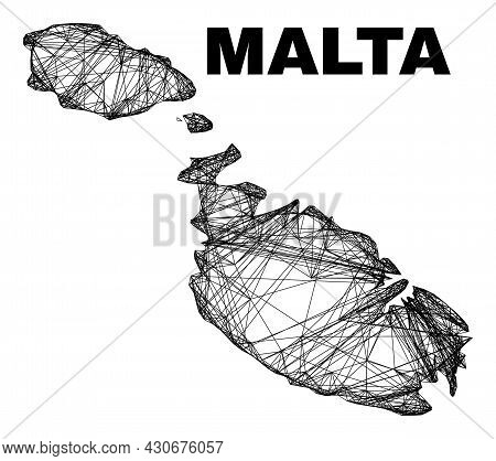 Wire Frame Irregular Mesh Malta Map. Abstract Lines Are Combined Into Malta Map. Wire Frame 2d Netwo