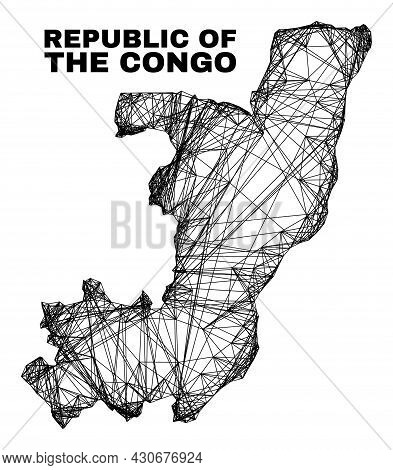 Network Irregular Mesh Republic Of The Congo Map. Abstract Lines Form Republic Of The Congo Map. Wir