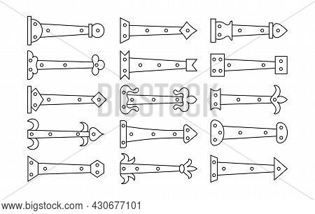 Decorative Vintage Arrow Hinges. Accents For Garage And Barn Doors, Gates, Trunks. Line Icon Set. Ve