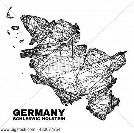 Wire Frame Irregular Mesh Schleswig-holstein Land Map. Abstract Lines Form Schleswig-holstein Land M
