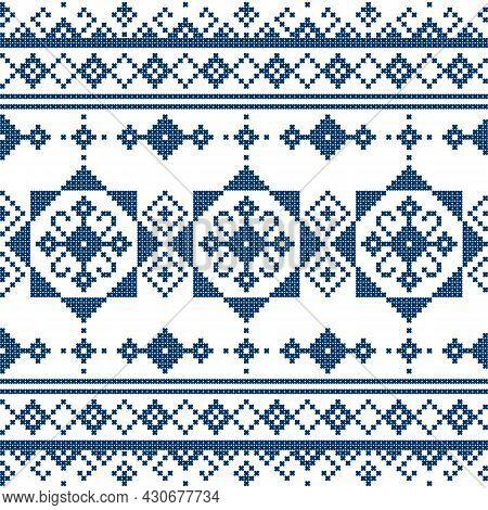 Zmijanjski Vez Traditional Vector Folk Art Seamless Pattern - Textile Or Fabric Print Design Inspire