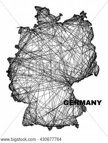 Wire Frame Irregular Mesh Germany Map. Abstract Lines Form Germany Map. Wire Frame Flat Net In Vecto