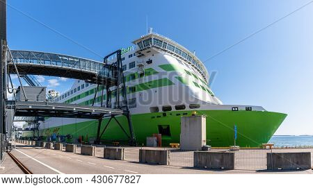 Helsinki, Finland: 5 August, 2021: View Of The Tallinn-helsinki Ferry At The Ferry Port In Downtown