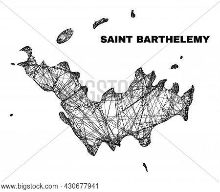 Net Irregular Mesh Saint Barthelemy Map. Abstract Lines Form Saint Barthelemy Map. Linear Carcass 2d
