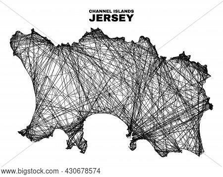 Wire Frame Irregular Mesh Jersey Island Map. Abstract Lines Form Jersey Island Map. Wire Frame 2d Ne