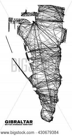Network Irregular Mesh Gibraltar Map. Abstract Lines Form Gibraltar Map. Linear Carcass 2d Network I
