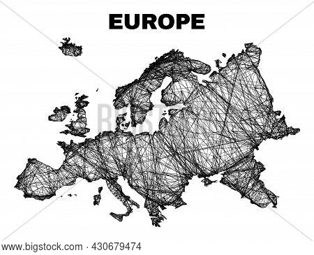 Carcass Irregular Mesh Europe Map. Abstract Lines Form Europe Map. Wire Carcass 2d Net In Vector For