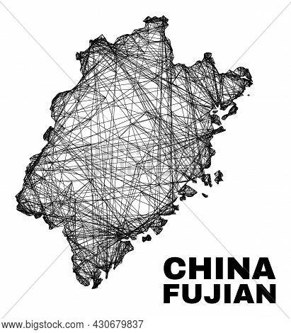 Carcass Irregular Mesh Fujian Province Map. Abstract Lines Form Fujian Province Map. Linear Carcass