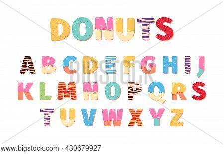 Donuts Alphabet. Attraction Funny Text Letters Food Cake Lettering 3d Dessert Symbols For Design Men