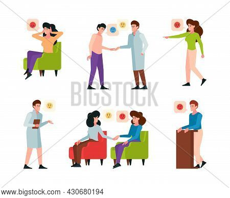 Therapy. Patients Talking With Doctor Adult Psychologist Therapy Consultation Garish Vector Flat Cha