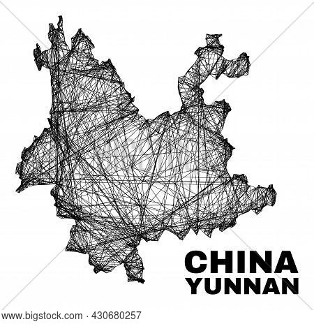 Network Irregular Mesh Yunnan Province Map. Abstract Lines Are Combined Into Yunnan Province Map. Wi