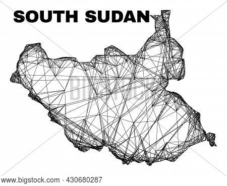 Wire Frame Irregular Mesh South Sudan Map. Abstract Lines Form South Sudan Map. Wire Frame Flat Net