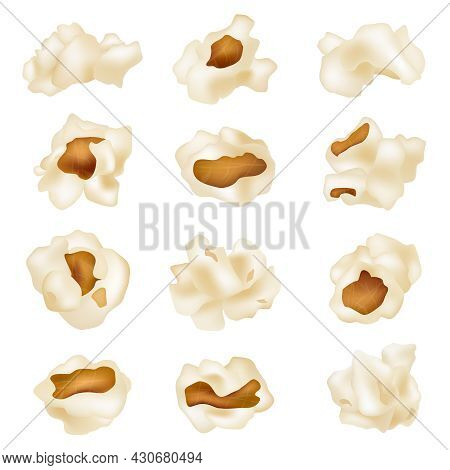 Fluffy Popcorn. Fried 3d White Corns Snacks For Movies Time Decent Vector Realistic Collection Set