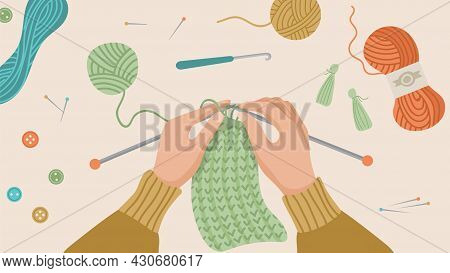 Hand Knitted. Hands Knitting, Knit Cloth From Wool Thread. Autumn Or Winter Time, Hygge Concept. Han