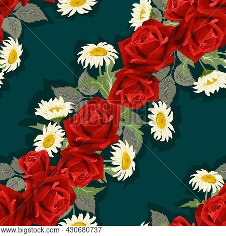 Vector Pattern With Roses And Daisies.red Roses And White Daisies On A Colored Background In A Vecto