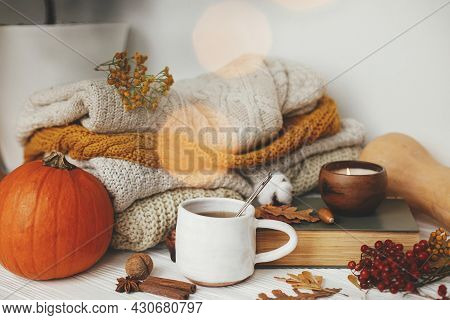 Hello Autumn, Cozy Slow Living. Pumpkin, Cup Of Tea, Cozy Sweaters, Autumn Leaves, Burning Candle An