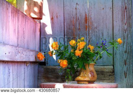 Rustic Still Life, Summer Flowers In Old Clay Jag. Still Life Of Rural Life