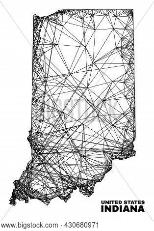 Wire Frame Irregular Mesh Indiana State Map. Abstract Lines Form Indiana State Map. Wire Carcass Fla