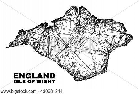 Carcass Irregular Mesh Isle Of Wight Map. Abstract Lines Form Isle Of Wight Map. Linear Carcass 2d N