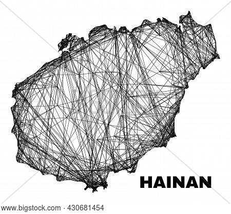 Carcass Irregular Mesh Hainan Map. Abstract Lines Are Combined Into Hainan Map. Wire Carcass 2d Netw