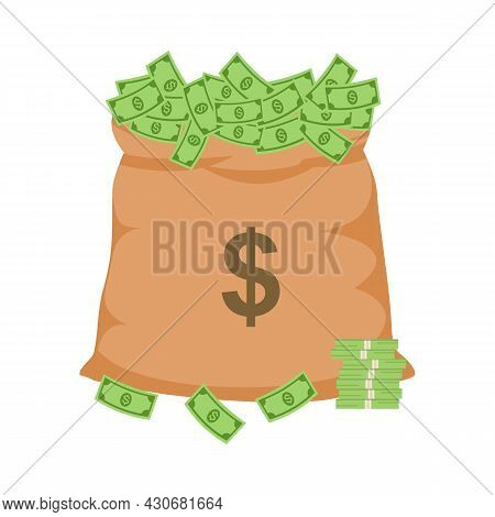 A Bag Full Of Dollar Banknotes In Flat Design On White Background. Money Sack.