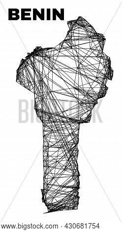 Carcass Irregular Mesh Benin Map. Abstract Lines Form Benin Map. Wire Carcass 2d Network In Vector F