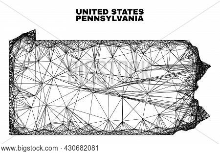 Carcass Irregular Mesh Pennsylvania State Map. Abstract Lines Are Combined Into Pennsylvania State M