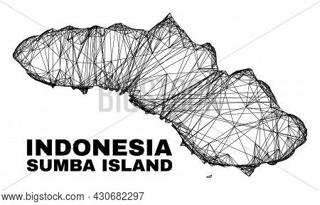Carcass Irregular Mesh Sumba Island Map. Abstract Lines Are Combined Into Sumba Island Map. Wire Car