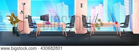 Modern Coworking Area Office Interior Empty No People Open Space Cabinet Room