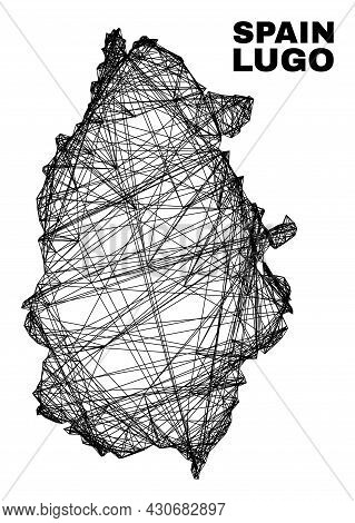 Net Irregular Mesh Lugo Province Map. Abstract Lines Are Combined Into Lugo Province Map. Linear Fra