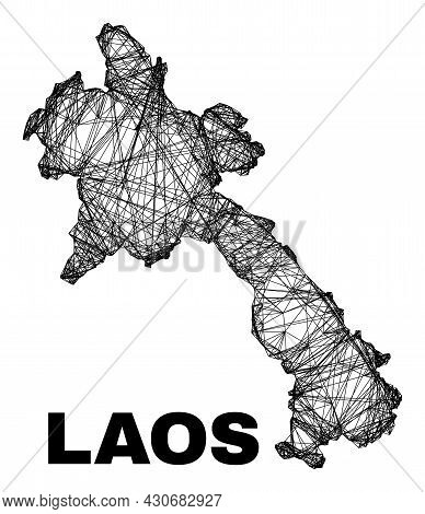 Wire Frame Irregular Mesh Laos Map. Abstract Lines Are Combined Into Laos Map. Wire Frame Flat Netwo
