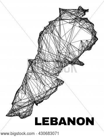 Carcass Irregular Mesh Lebanon Map. Abstract Lines Are Combined Into Lebanon Map. Wire Carcass Flat