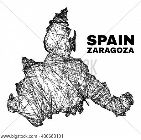 Carcass Irregular Mesh Zaragoza Province Map. Abstract Lines Are Combined Into Zaragoza Province Map