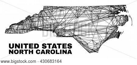 Wire Frame Irregular Mesh North Carolina State Map. Abstract Lines Form North Carolina State Map. Wi