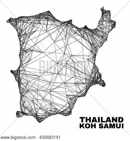 Network Irregular Mesh Koh Samui Map. Abstract Lines Form Koh Samui Map. Linear Carcass Flat Network