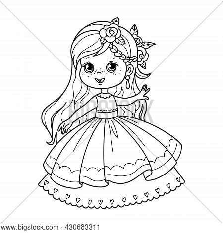 Cartoon Character Cute Little Princess In A Lush Beautiful Dress. Coloring Page For Children, Vector