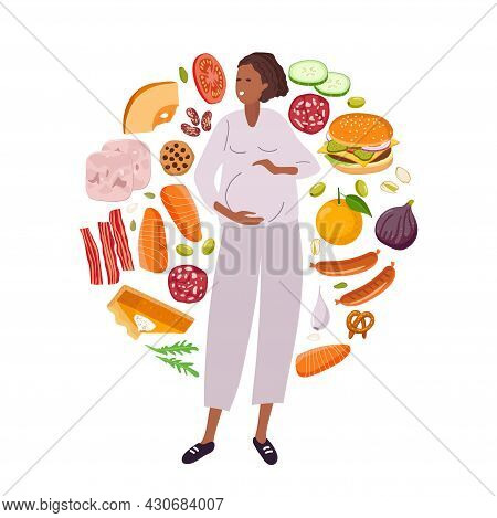 Choice Of Nutrition During Pregnancy. Healthy Food And Junk Food. Diet Choice. Food For Pregnant Wom