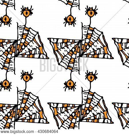 Vector Seamless Pattern Of A Piece Of Triangular Web With Spiders Hanging On Them With A Cross, Oran