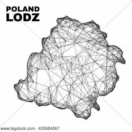 Network Irregular Mesh Lodz Voivodeship Map. Abstract Lines Form Lodz Voivodeship Map. Linear Frame