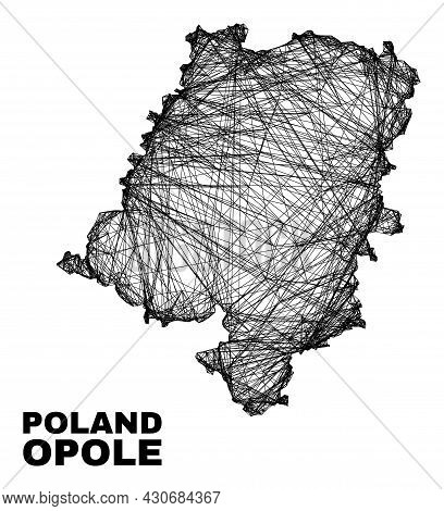 Wire Frame Irregular Mesh Opole Voivodeship Map. Abstract Lines Form Opole Voivodeship Map. Wire Fra