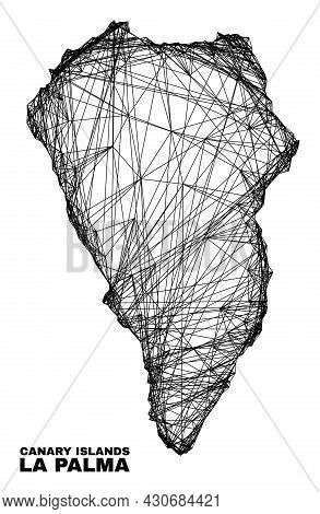 Carcass Irregular Mesh La Palma Island Map. Abstract Lines Are Combined Into La Palma Island Map. Wi