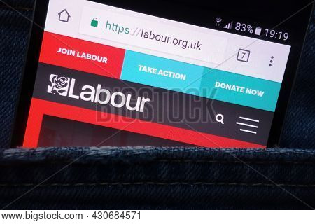Konskie, Poland - May 18, 2018: The Labour Party Website Displayed On Smartphone Hidden In Jeans Poc