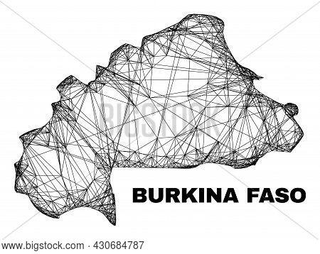 Net Irregular Mesh Burkina Faso Map. Abstract Lines Form Burkina Faso Map. Linear Carcass 2d Net In